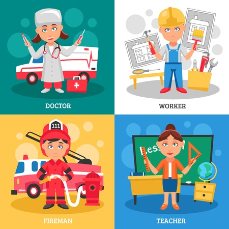 Professions for kids 2x2 flat design concept with doctor fireman teacher and worker cartoon square compositions vector illustration