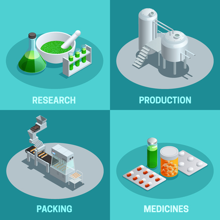 Illustration pour Isometric 2x2 compositions of pharmaceutical production steps like research production packing and end product medicines vector illustration - image libre de droit