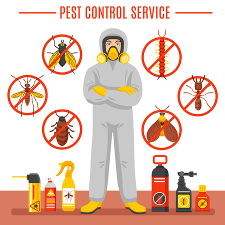 Illustration pour Pest control service vector illustration with exterminator of insects in chemical protective suit termites and disinfection cans flat icons - image libre de droit