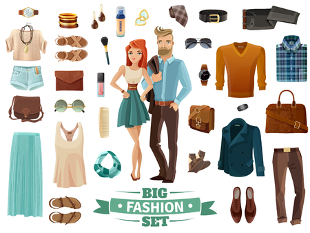 Illustration pour Big male and female fashion clothing shoes cosmetics and accessories set with young man and woman in middle on white background cartoon isolated vector illustration - image libre de droit