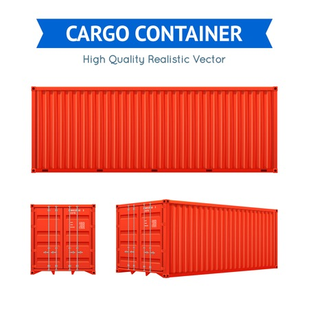 Ilustración de Red cargo freight container from side and isometric views set isolated on white background realistic vector illustration - Imagen libre de derechos