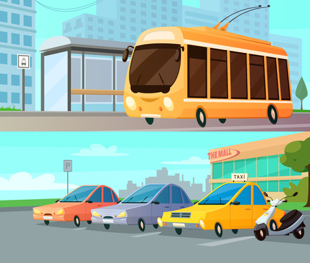 Photo for City transport cartoon compositions with trolley at street stop and mall parking with taxi cars and motorbike flat vector illustration - Royalty Free Image