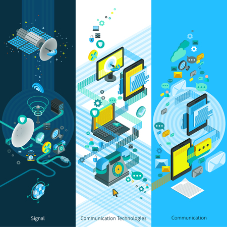 Illustration pour Telecommunication isometric vertical banners with global network elements modern communication equipment and cloud technology vector illustration - image libre de droit
