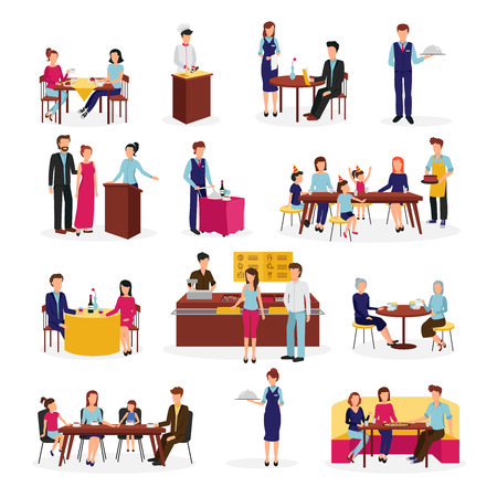 Vektor für People in restaurant flat icons set on special occasions family dinner with friends abstract isolated vector illustration - Lizenzfreies Bild