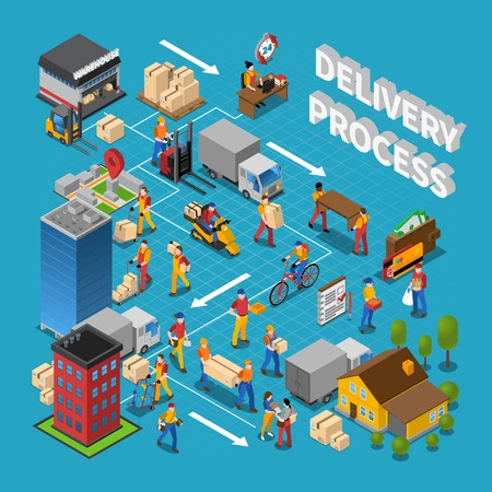 Illustration pour Delivery process concept composition with logistics symbols on blue background isometric vector illustration - image libre de droit