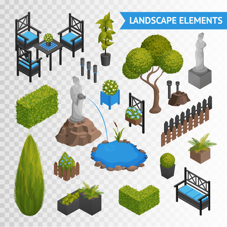 Illustration for Various garden park landscape isometric elements set with plants flowers furniture and statues isolated on transparent background vector illustration - Royalty Free Image
