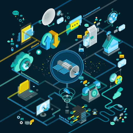 Illustration pour Telecommunication isometric flowchart with equipment for network and mobile connection update and synchronization vector illustration - image libre de droit