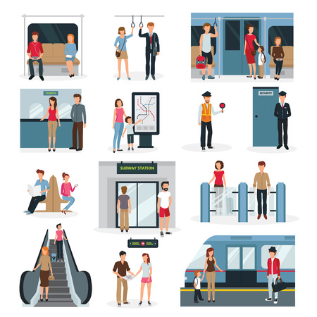 Illustration pour Flat design set with people in different situations in subway isolated on white background vector illustration - image libre de droit