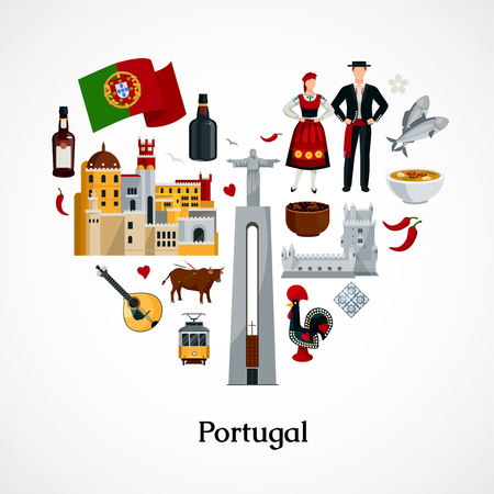 Flat design icon in form of heart with portugal national symbols attractions cuisine and attire on white background vector illustration