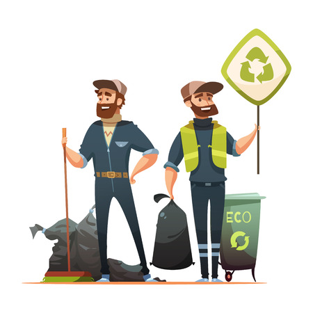 Illustration for Ecologically responsible waste and garbage collecting for recycling cartoon poster with professional and volunteer garbageman vector illustration - Royalty Free Image