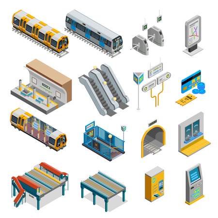 Underground isometric set with train and station symbols isolated vector illustration