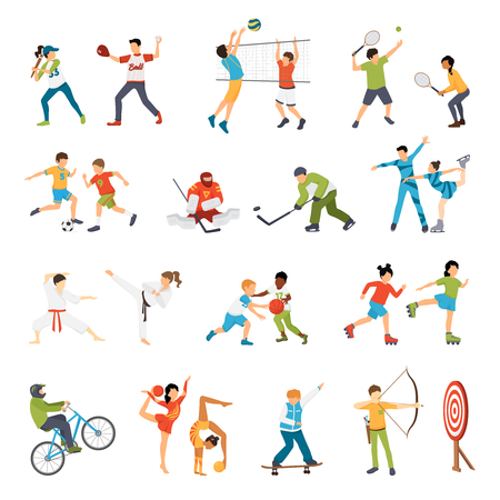 Illustration pour Flat icons set of kids doing different types of sports from football to archery isolated vector illustration - image libre de droit