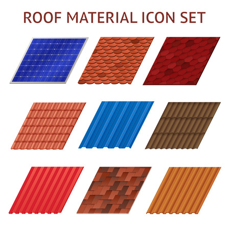 Illustration for Images set of different colors and shapes fragments of roof tile isolated vector illustration - Royalty Free Image