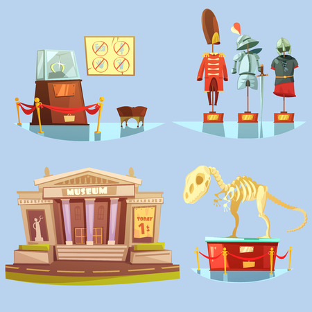 Illustration pour Museum with one dollar ticket today and historical exhibits on glassy floor retro cartoon 2x2 flat icons set - image libre de droit