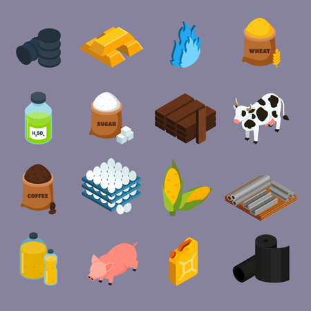 Illustration pour Commodity icons set with milk corn and gold symbols isometric isolated vector illustration - image libre de droit