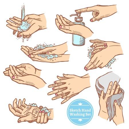 Ilustración de Colorful sketch hands washing rinsing and drying hands hygiene set isolated on white background vector illustration - Imagen libre de derechos