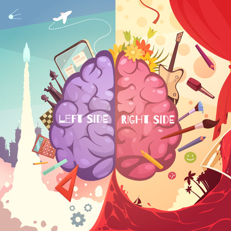 Illustration pour Human brain left and right side difference educative learning aid retro cartoon symbolic poster print vector illustration - image libre de droit