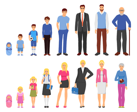 Ilustración de People aging process from baby to elderly person 2 men women sets flat icons rows vector illustration - Imagen libre de derechos