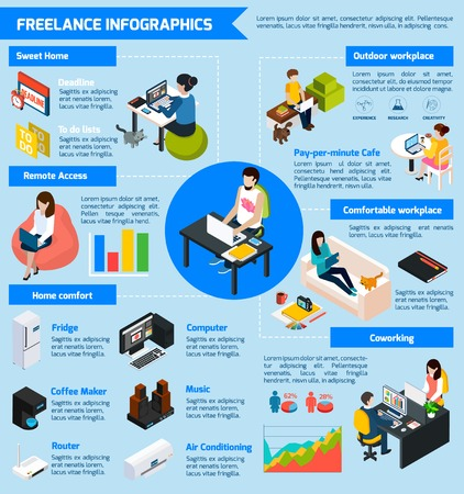 Illustration pour Coworking freelance people infographic set with teamwork symbols isometric vector illustration - image libre de droit
