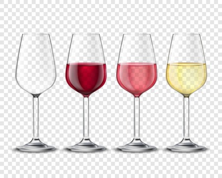 Illustration pour Classic wineglass alcohol drink glasses set with red white and rose wine realistic transparent poster vector illustration - image libre de droit
