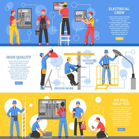 Ilustración de Electrical works horizontal banners with electricians working outdoor and crew of workers indoor flat vector illustration - Imagen libre de derechos