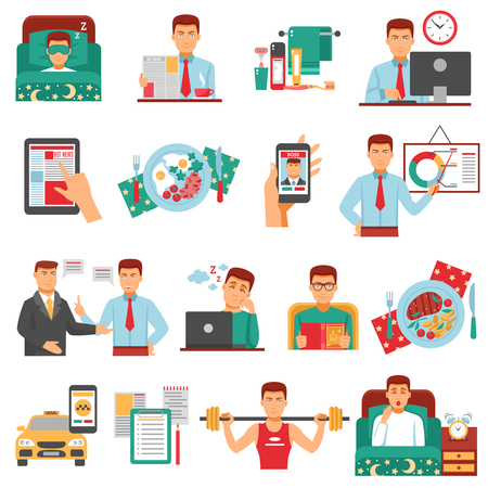 Ilustración de Man daily routine icon set with a busy man during the day dream sports food work for example illustration - Imagen libre de derechos