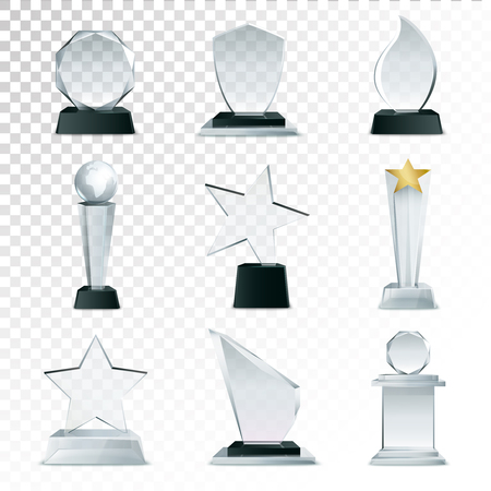 Illustration pour Modern glass cup trophies and challenge prizes side view realistic icons collection against transparent background isolated illustration - image libre de droit