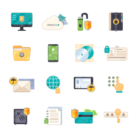 Illustration for Safe personal data storage and  online information exchange software protection shield flat icons set isolated vector illustration - Royalty Free Image
