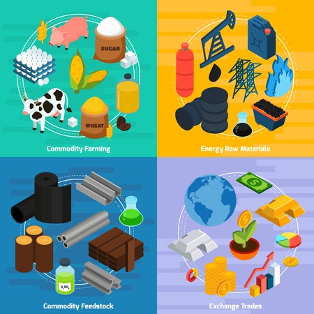 Commodity concept icons set with commodity farming and raw materials symbols isometric isolated illustration