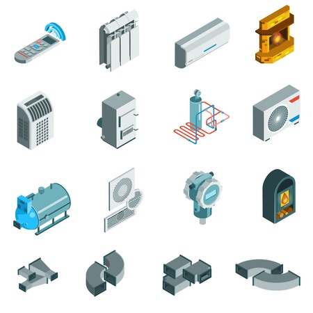 Ilustración de Heating cooling system isometric icons set of different elements in flat style isolated illustration - Imagen libre de derechos