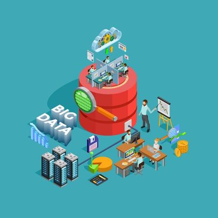 Illustration pour Big data access storage distribution information management and  analysis for efficient business planning isometric poster illustration - image libre de droit