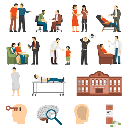 Illustration pour Flat color icons set depicting psychologist counselings for people having family problems and mental disorders isolated vector illustration - image libre de droit