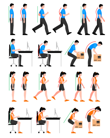Illustration for Colorful postures set with man and woman in correct and wrong positions for spine isolated vector illustration - Royalty Free Image