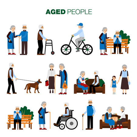 Illustration pour Male and female old age people in different sitiations set on white background flat isolated vector illustration - image libre de droit