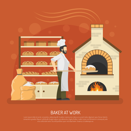 Illustration pour Male baker working in bakery with bread on shelves flat vector illustration - image libre de droit
