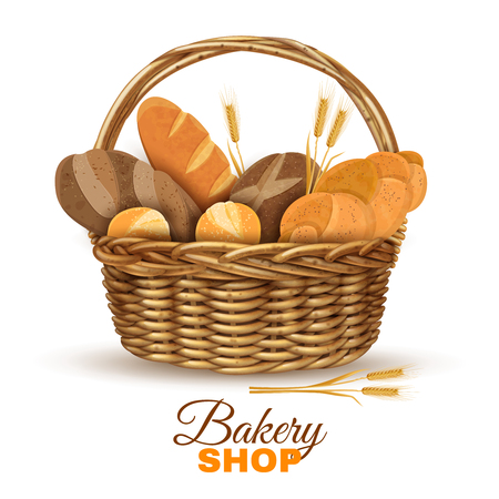 Illustration pour Bakery shop display traditional willow wicker basket with handle full with fresh bred realistic poster vector illustration - image libre de droit