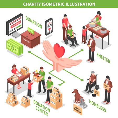 Illustration for Charity donation center helping homeless and needy people and animals isometric vector illustration - Royalty Free Image