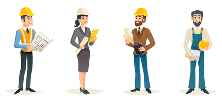 Ilustración de Engineers cartoon set with civil engineering construction workers architect and surveyor isolated vector illustration - Imagen libre de derechos