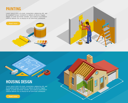 Illustration for Home renovation isometric horizontal banners with painter tools and house construction with its design isolated vector illustration - Royalty Free Image