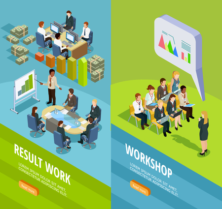 Illustration pour Business learning isometric vertical banners with place for staff coaching and teaching for work summary vector illustration - image libre de droit