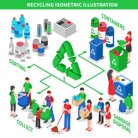 Illustration for Recycling isometric composition with collecting sorting and disposal situations connected with arrows and green recycle pictogram vector illustration - Royalty Free Image