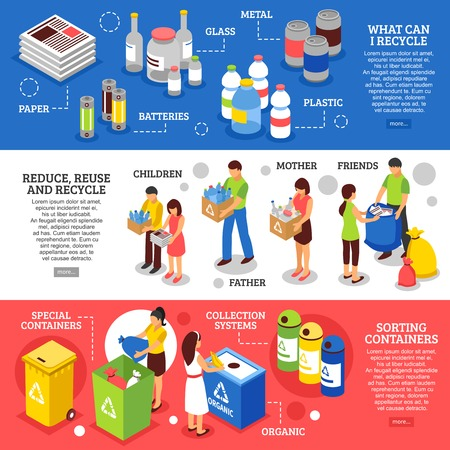 Illustration pour Three horizontal garbage recycling banners set with isometric figures of people sorting rubbish and containers images vector illustration - image libre de droit