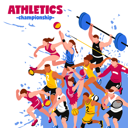 Colorful sport isometric poster with active players sportsmen and athletes on splash background vector illustrationのイラスト素材