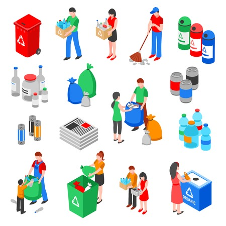 Illustration for Garbage and plastic recycling isolated images set with isometric rubbish containers trash bins and people characters vector illustration - Royalty Free Image