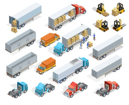 Illustration pour Transportation isometric elements set with loaded and empty trucks trailers boxes forklifts and workers isolated vector illustration - image libre de droit