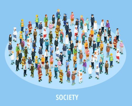 Ilustración de Professional society isometric background with people of different occupations and jobs isolated vector illustration - Imagen libre de derechos