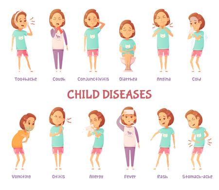 Illustration pour Isolated characters set with cartoon girl anxious for different child disease symptoms with appropriate text captions vector illustration - image libre de droit