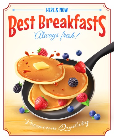 Illustration pour Premium quality restaurant breakfasts vintage style advertisement poster with frying pan pancakes berries and butter vector illustration - image libre de droit