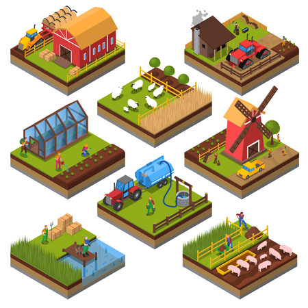 Ilustración de Agricultural compositions isometric set with farm buildings and vehicles livestock and fishing cultivated lands isolated vector illustration - Imagen libre de derechos