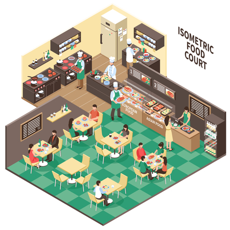 Illustration pour Food court composition with isometric interior of european asian restaurant rooms visitors and kitchen with people vector illustration - image libre de droit